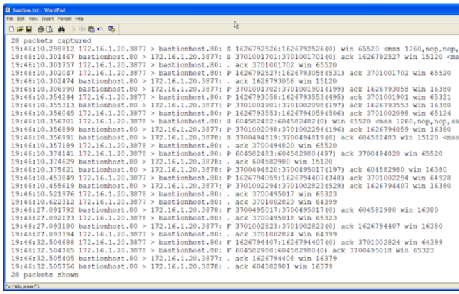 Capturing Traffic on the PIX - The copied Textfile