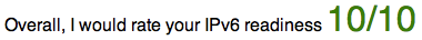 Overall, I would rate your IPv6 readiness 10/10